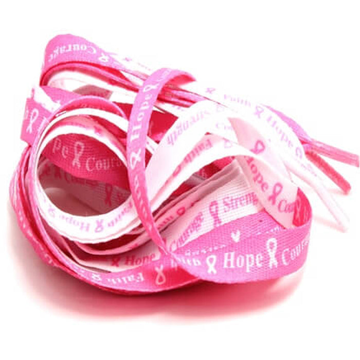 4 Pair Breast Cancer Awareness Shoe Laces Strings Pink Ribbon Hope Walk Shoelace