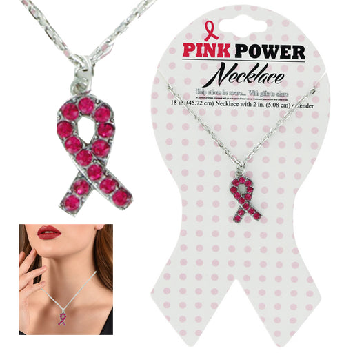 1 Breast Cancer Awareness Pink Ribbon Rhinestone Necklace Pendant Silver Chain