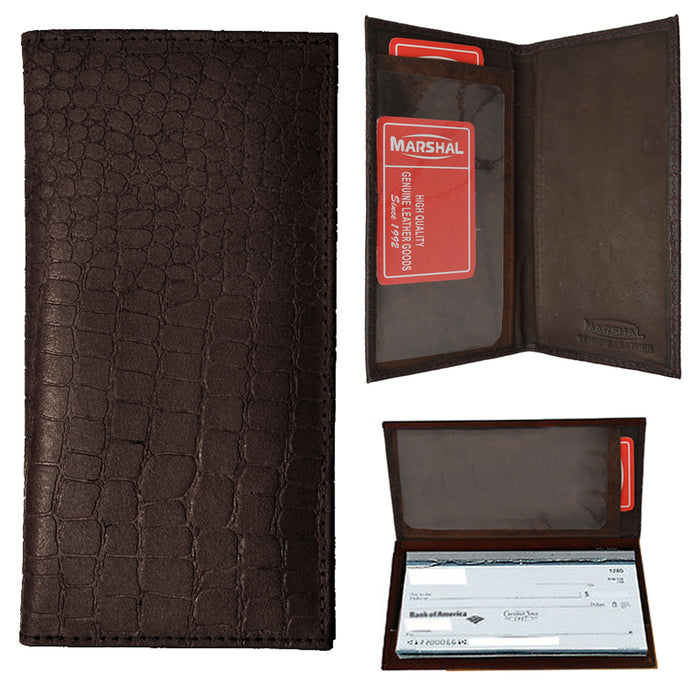 1 Genuine Leather Crocodile Checkbook Cover Wallet Organizer Credit Card Holder