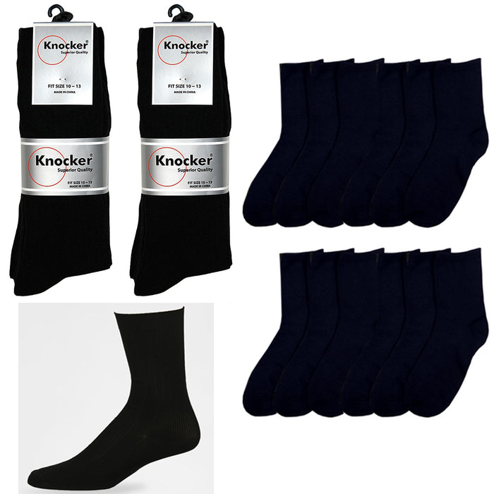 12 Pairs Mens Knocker Dress Socks Casual Work Fashion Crew Size 10-13 Black