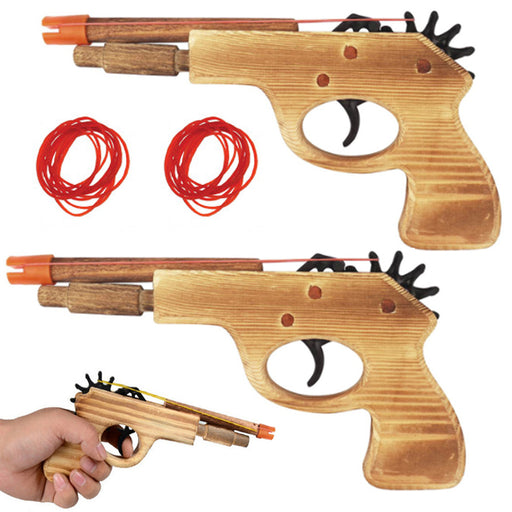2 Pc Wooden Pistol Toy Rubber Band Gun Shooter Kids Cowboy Classic Antique Gift