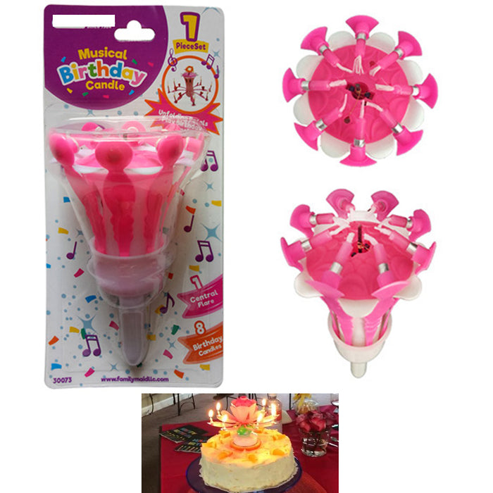 1 Pc Musical Birthday Candle Flower Lotus Cake Topper Decor Song Music Party