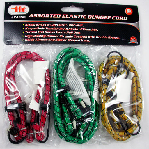 "6 Bungee Bungie Cord Tie Down Tarp Shock Straps Assortment Set 12"" 18"" 24"" New"