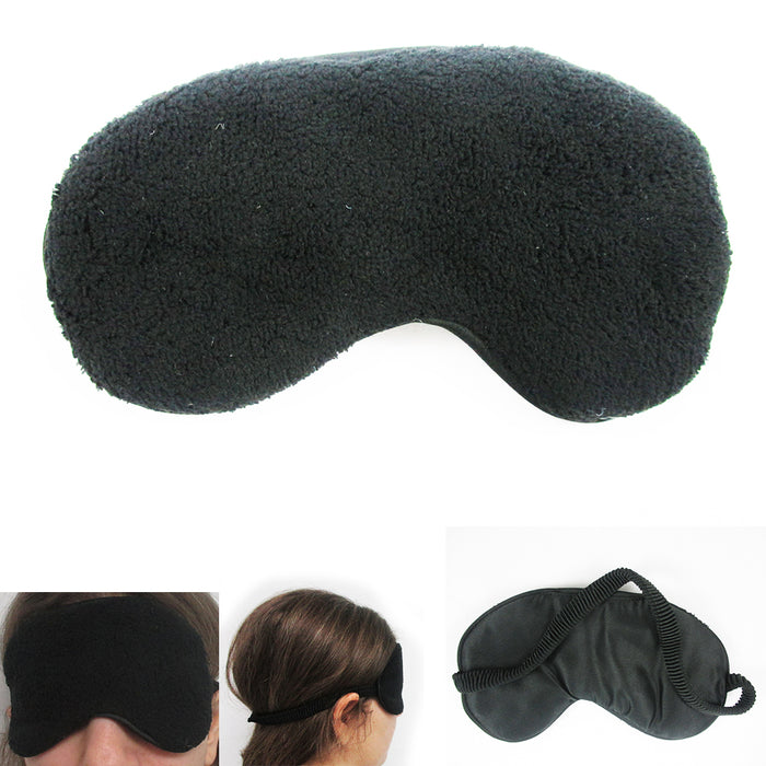2 Plush Sleep Eye Mask Silk Travel Shades Blindfold Sleeping Cover Black New  !