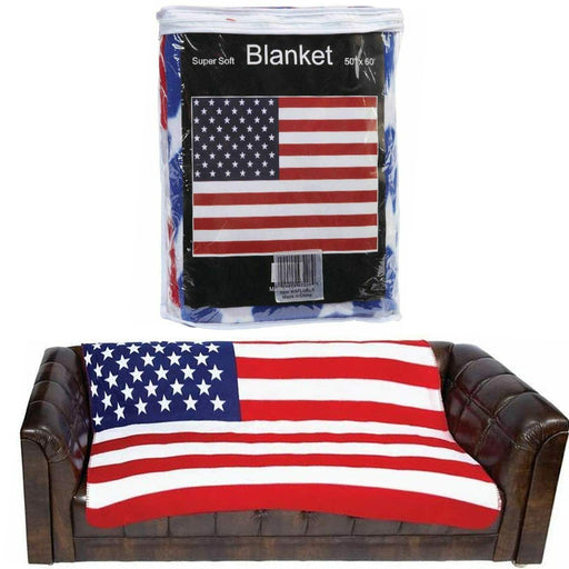 "1 United States Flag Blanket USA Print Soft Fleece Throw Couch Bed Cover 50""X60"""