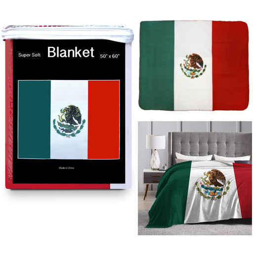 "1 Mexico Flag Blanket Mexican Bandera Cobija Print Fleece Throw Cover 50""X60"""