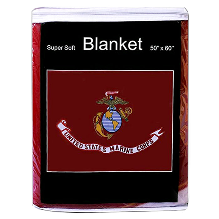 "1 United States Marine Corps Blanket Emblem Fleece Throw Couch Bed Cover 50""X60"""