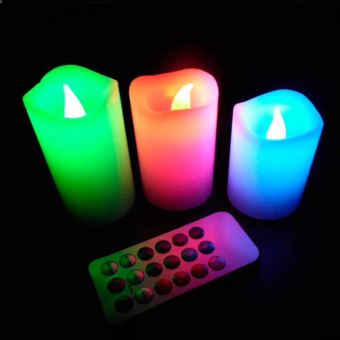 "3PC Flickering Flameless LED Pillar Candles Waterproof 4'' 5'' 6"" Remote Control"