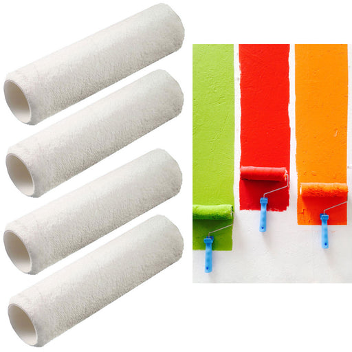 "4 Rolls Paint Roller Refills Covers Painting Replacement Rolls Heavy Duty 9"" Lot"