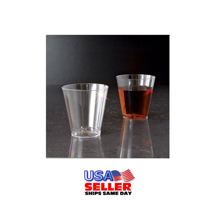 100 Clear Shot Glasses 2 oz Hard Plastic Disposable Cups Wine Party Catering Bar