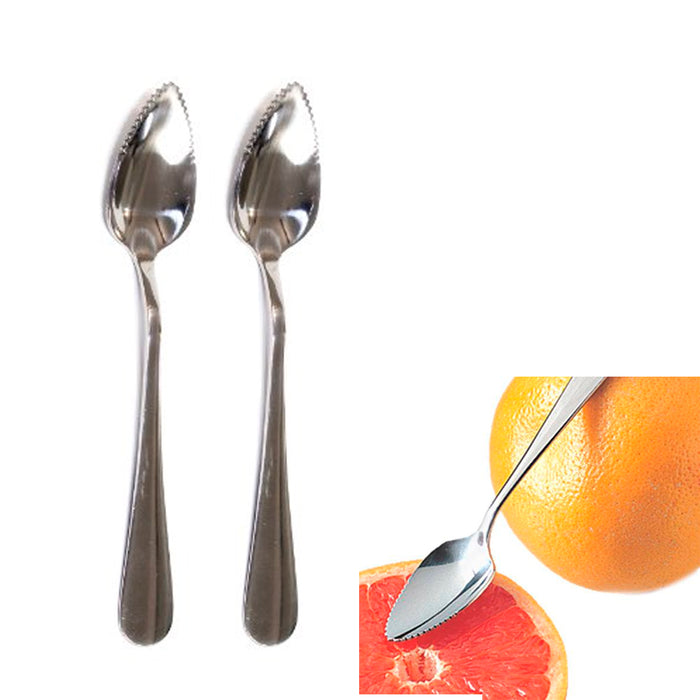 2 Pc Set Stainless Steel Grapefruit Spoon Serated Edge Dessert Cirtus Fruit New