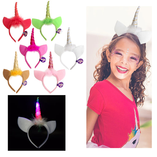 1 Magical Glow Unicorn Head Band Light Up Horn Party Kids Hair Headband Cosplay