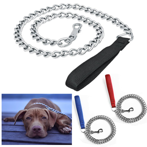 1 Pc Dog Leash Chrome Metal Chain Pet Strap Lightweight Sturdy Strong Hold 47""