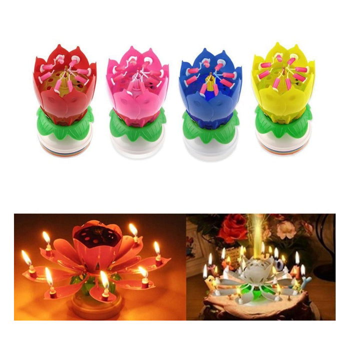 1 X Lotus Flower Musical Birthday Candle Rotating Spin Magic Cake Topper Party