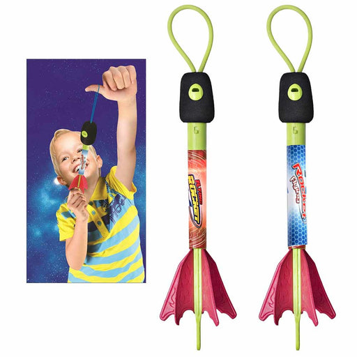 2 Pc Light Up Sling Shot Foam Finger Rockets Slingshot Copters Fun Catapult Toy