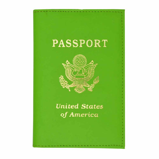 1 Lime Green USA Passport Cover Genuine Leather America Gold Seal Holder Travel