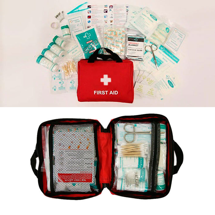 210 Pc First Aid Kit Bag Travel Camping Sport Medical Emergency Survival Outdoor