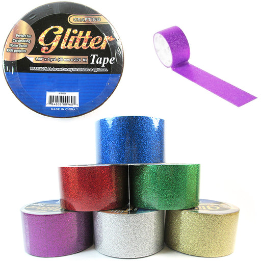 6 Rolls Decorative Glitter Tape Crafting Project Adhesive Assorted Colors 18yd