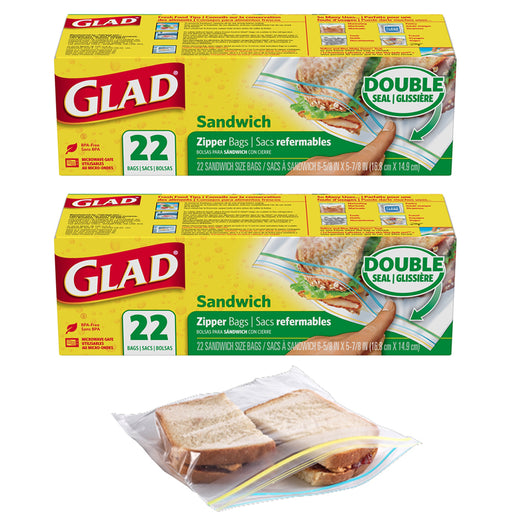 44 Ct Glad Double Seal Sandwich Bags Zipper Snacks School Lunch Storage BPA Free