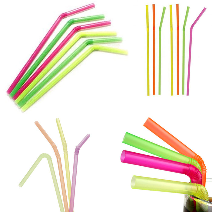 400 Neon Plastic Straws Bendy Flexible Drinking Party Wedding Smothies Home Bar
