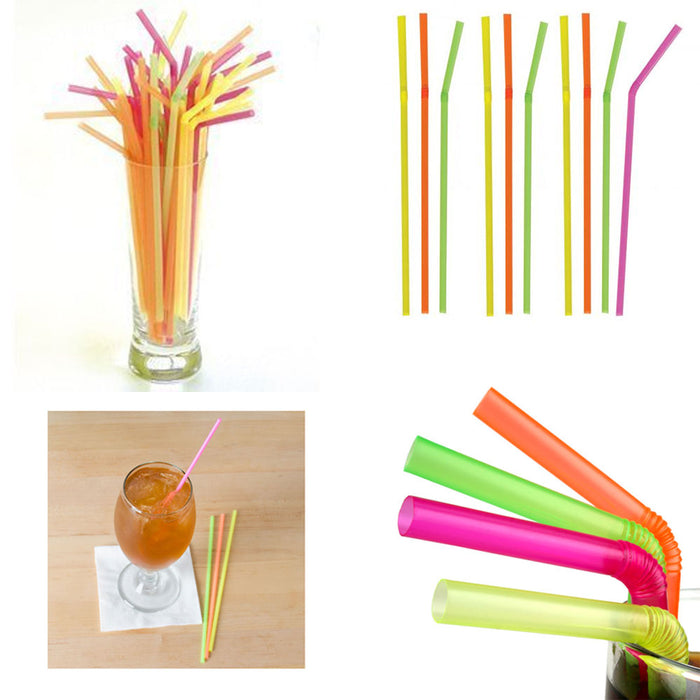 200 Neon Straw Flexible Bendable Birthday Kids Party Drinks Wedding Cocktail Bar