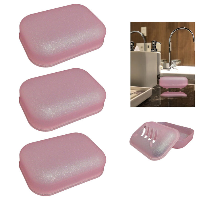 3Pc Travel Soap Dish Box Case Holder Container Wash Shower Home Bathroom Camping