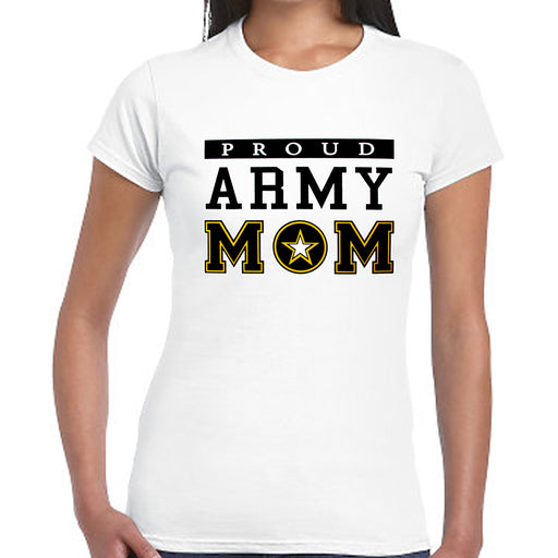Women T-Shirt Proud Army Mom Military USA Armed Forces Patriotic Tee Top White L