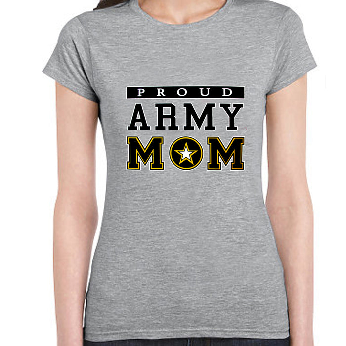 Women T-Shirt Proud Army Mom Military USA Armed Forces Patriotic Tee Top Grey S