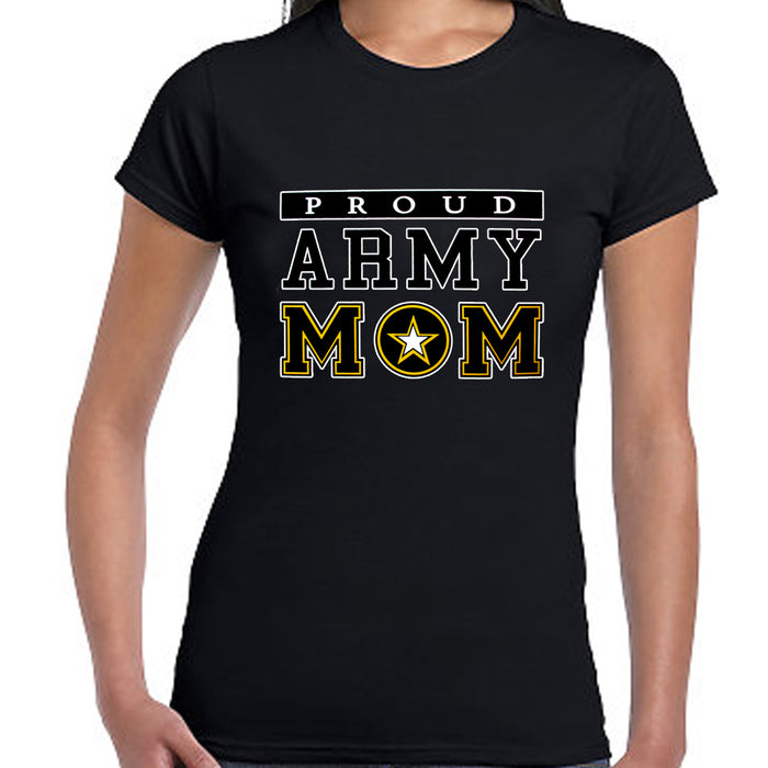 Women T-Shirt Proud Army Mom Military USA Armed Forces Patriotic Tee Top Black L