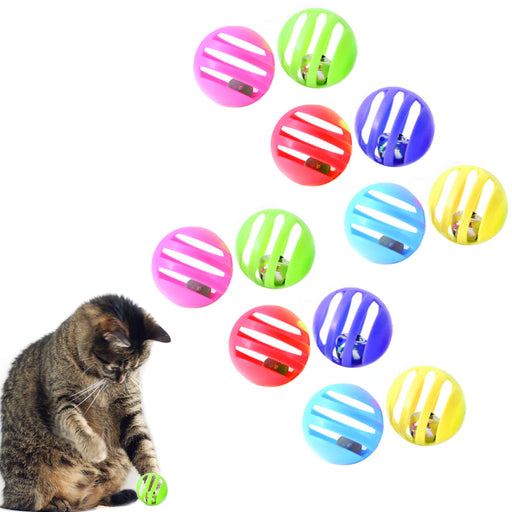 12 Cat Toys Bells Balls Play Kitten Fun Games Pets Interactive Animal Exercise