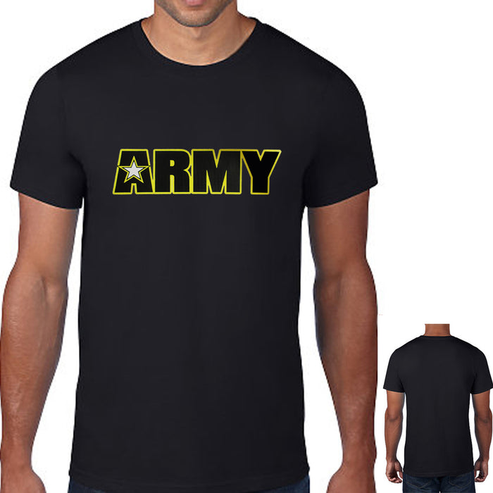 Mens T-Shirt American Army Star Military USA Air Force Navy Tee Top Size Black S