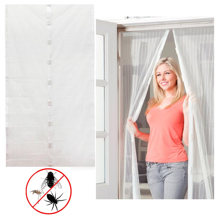 White Magnetic Mesh Door Screen Instant Magic Hands Free Bug Mosquito Fly Out Gift New