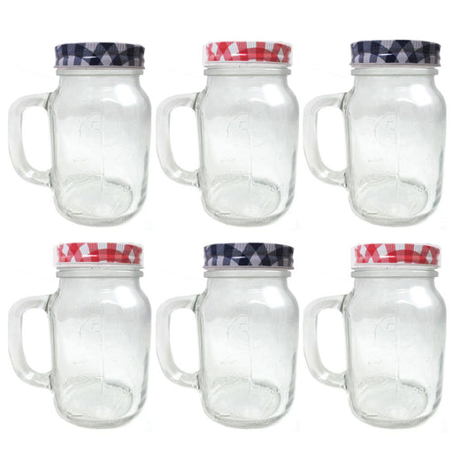 Lot 6 Clear Mason Jars Handles Lids Jelly Bridal Canning Jar Pint Wedding 20oz