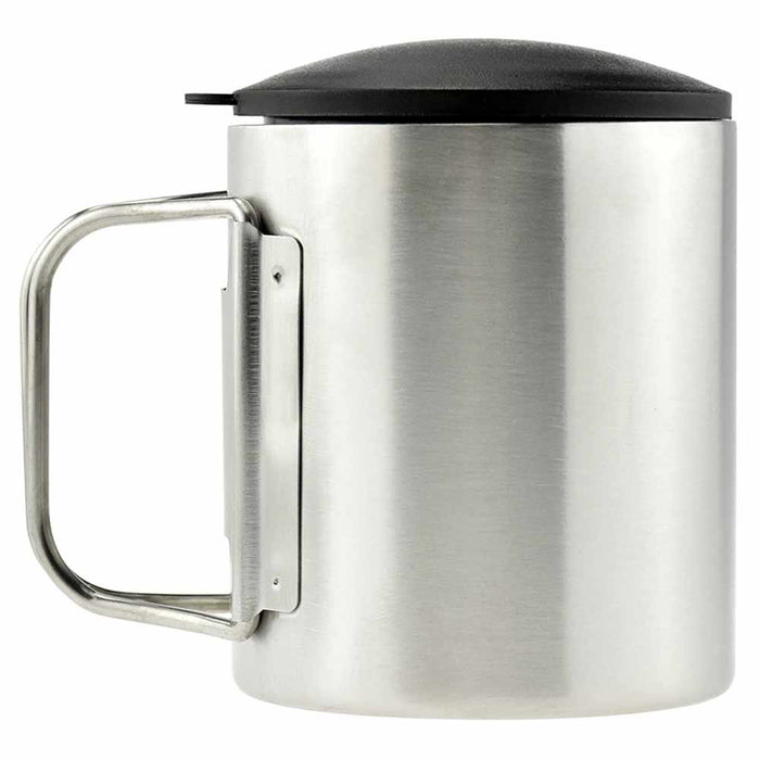 1 Double Wall Stainless Steel Mug Lid Travel Coffee Drink Tea Cup Handle 7.4 Oz
