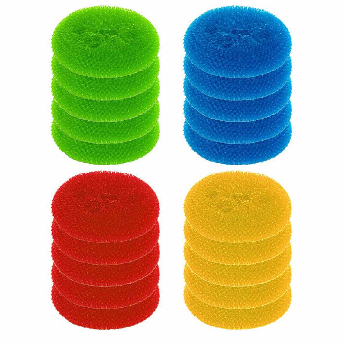40 Pc Round Scouring Pads Sponge Wash Clean Kitchen Dishes Cleaner Scour Scrub