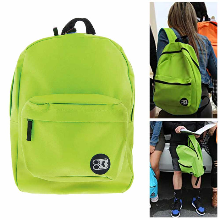 "12 Pc Wholesale Lime Green Backpack 17"" Travel Sports Back Pack School Book Bag"