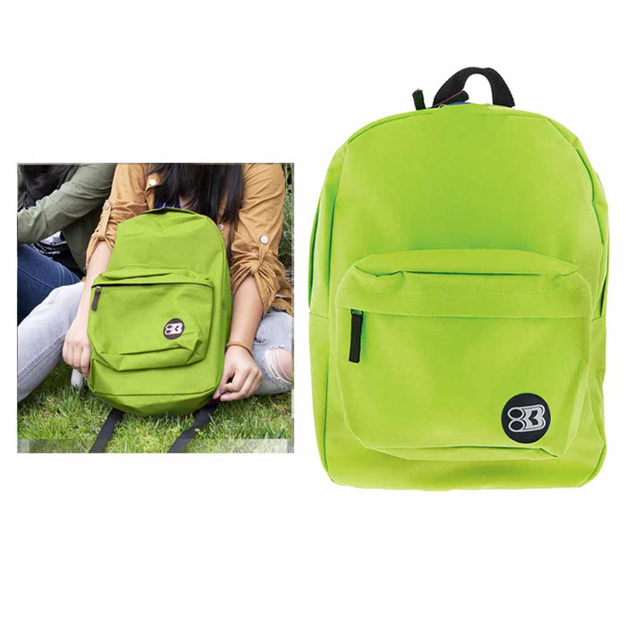 "2 Lime Green Backpack 17"" Travel Sports Back Pack School Book Bag Hiking Camping"