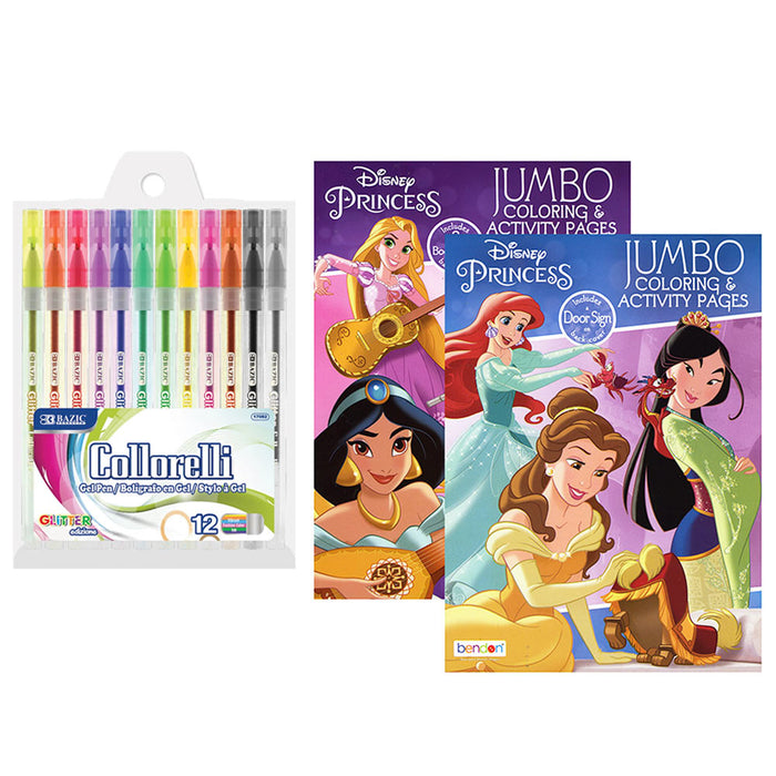 14 Pc Disney Princess Coloring Books Set Activity Pad Kids Drawing Glitter Pens