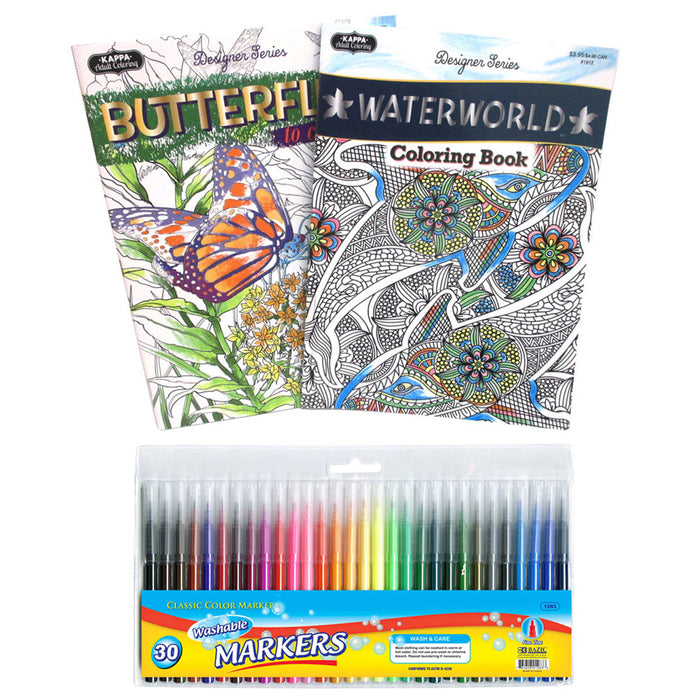 32 Pc Coloring Book Set Markers Stress Relieving Washable Pen Drawing Kids Adult
