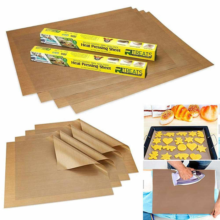 "8 Pc Sheet Heat Press Oven Transfer PTFE Coated Non Stick 16"" x 20"" 5mil"