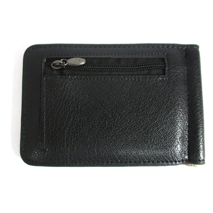 Mens Genuine Leather Money Clip Slim Wallet Magnetic Black ID Credit Card Holder