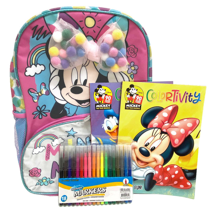 Disney Minnie Mouse Backpack Combo Coloring Books Washable Markers Drawing Set