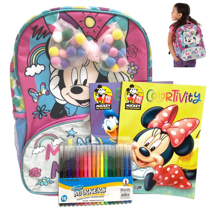 Disney Minnie Mouse Backpack Bundle Coloring Books Washable Markers Drawing Kit