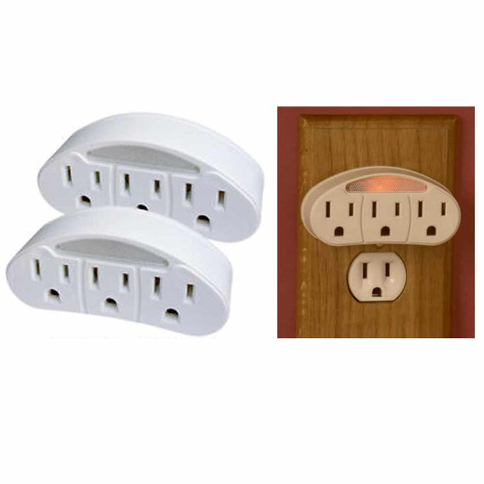 2 Pc 3 Outlet Prong Indoor Grounded AC Power Light Wall Tap with Sensor Adapter