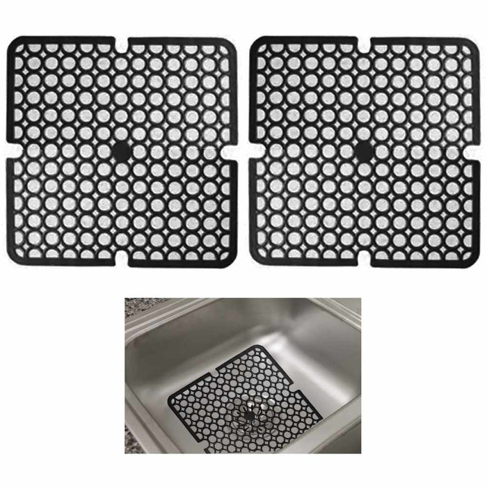"2Pc Black Kitchen Sink Mat Pad Protector Mesh 11"" x 11"" Non-Slip Bathroom Garage"