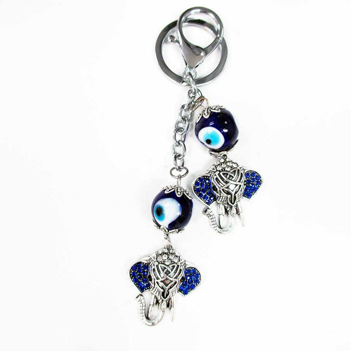 Lucky Eye Turkish Bracelet Nazar Talisman Keyring Good Elephant Keychain Charm