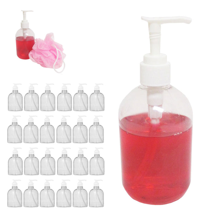 24 Pc Liquid Soap Dispenser Pump Lotion Refillable Empty Bottle Plastic Jar 12oz