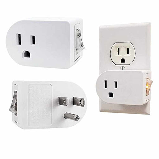 1 Pc Single 3 Pronged Plug Power Adapter With On/Off Switch Grounded Wall Tap