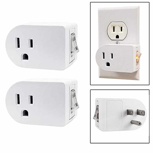 2 Pc Single 3 Pronged Plug Power Adapter With On/Off Switch Grounded Wall Tap