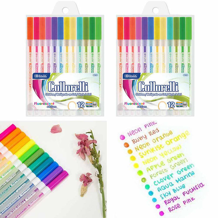 24Pc Bright Neon Colored Gel Pens Fluorescent Art School Sketch Drawing Coloring